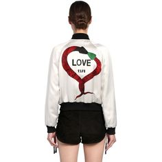 Saint Laurent Women Love 1974 Printed Satin Bomber Jacket ($3,025) ❤ liked on Polyvore featuring outerwear, jackets, white, snap jacket, blouson jacket, bomber style jacket, fleece-lined jackets and inside pocket jacket