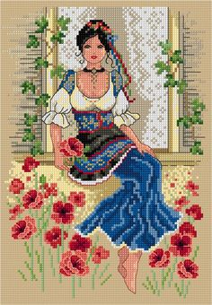 This gorgeous Italian beauty will transport you to warm, sunny days in the lovely Italian countryside. Stitch on a natural. Diy Bead Embroidery, Hand Embroidery Videos, Hand Embroidery Art, Cross Stitch Embroidery, Cross Stitch Tree, Cross Stitch Cards, Simple Cross Stitch, Cross Stitching, Easy Cross Stitch Patterns