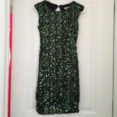 Green Sequin Bodycon Cocktail Dress Black dress with dark green sequins. XS. Work once for a party. Like new. Arden B Dresses Mini