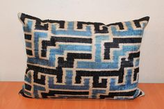 Blue Ikat Pillow Cover Decorative Couch Pillows by TEXTILEGALLERY