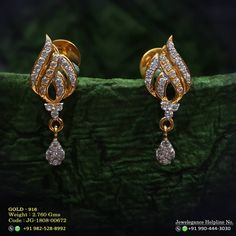 Latest light weight gold latkan earrings to make your special events more special. We are sure that you will like our selection of earrings. Gold Jhumka Earrings, Gold Bridal Earrings, Jewelry Design Earrings, Gold Earrings Designs, Latest Earrings Design, Jewelry Logo, Necklace Designs, Gold Jewelry Simple, Simple Earrings