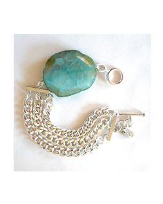 Silver Triple Chain Agate Bracelet