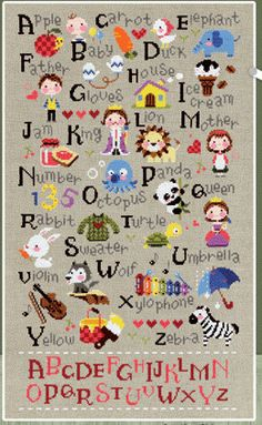 Cute modern cross stitch patterns and kits - alphabet learning, featuring A to Z with related motifs
