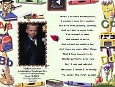 Kindergarten Graduation Poem.  Baby girl has kinder grad next wk!!