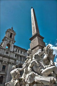 Pizza Navona, Rome. Además hay un obelisco egipcio auténtico.