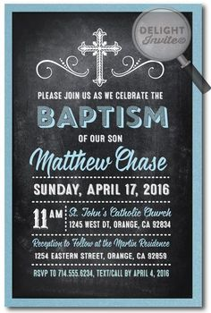 Vintage Chalkboard Boy Baptism Invitations, boy theme baptism invitations…
