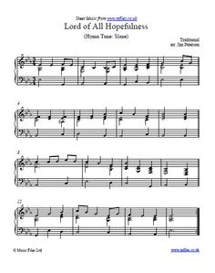 Lord of All Hopefulness (tune: Slane) is a hymn tune, often played at funeral services. This arrangement is for piano or keyboard, or download the corresponding midi and mp3 files.