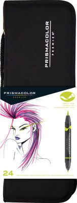 prismacolor brush top markers  set of 24 w/ case