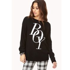 "⬛️Wool Blend Oversized Sweater F21 Boy Print Black Wool blend sweater. Black with white contrast ""boy"" printed on the front. Forever 21 Sweaters Crew & Scoop Necks"