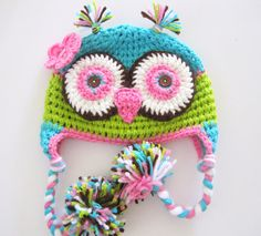 This is a really cute owl hat for your little girl. It is made with soft acrylic yarn and cotton. Available in all sizes.    Note: This is the price