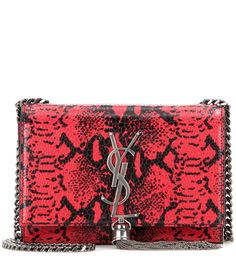 Saint Laurent - Classic Monogram printed leather shoulder bag - The red and black snakeskin print on this leather Saint Laurent shoulder bag will amp up any evening look. The chain tassel, shoulder strap and brand's iconic monogram are featured in gunmetal grey for a look that's just begging to be worn with your favourite all-black ensemble. seen @ www.mytheresa.com
