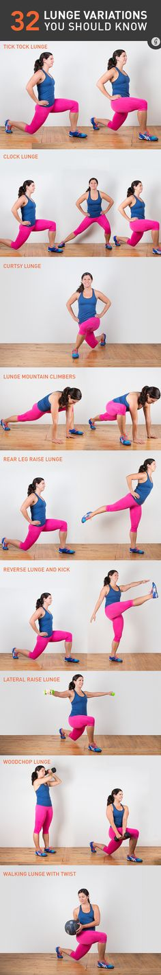 There's way more to the lunge than the simple bodyweight version we all know and love (to hate). Add weights, jumping, curtsies, lifts, and more to take your strength workout from basic to BANANAS. #lunge #bodyweightexercise #bodyweight https://greatist.com/move/lunge-variations-you-need-to-know