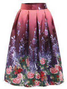 Flower Painting Print Box Pleated Midi Skirt