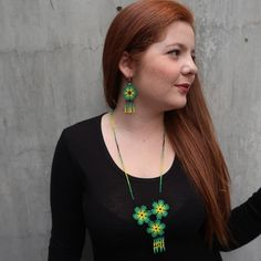 Huichol beaded set peyote huichol earrings necklace with Green Necklace, Flower Necklace, Turquoise Necklace, Bead Jewellery, Beaded Jewelry, Beaded Necklace, Necklaces, Huichol Art, Mexican Jewelry