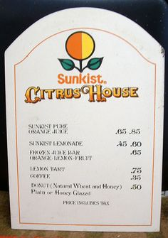 Vintage Disneyland ~ The Sunkist Citrus House On Main Street. Our Family's Last Stop Leaving D-Land Late At Night For A Treat Of Orange Juice & A Glazed Honey Wheat Donut! Yummy!