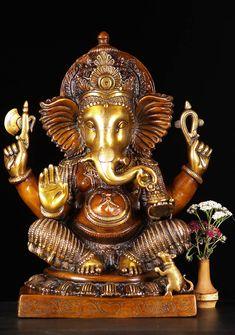 """Brass Ganesh Statue in Abhaya Mudra 18"""""""