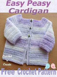 Very simple to make, beginners baby cardigan, FREE baby crochet pattern. An easy peasy baby cardigan, suitable for the beginner crocheter. You will love the quickness and ease of this long sleeve free crochet pattern . Crochet Baby Cardigan Free Pattern, Crochet Baby Jacket, Crochet Baby Sweaters, Baby Sweater Patterns, Baby Clothes Patterns, Crochet Baby Clothes, Baby Knitting Patterns, Baby Patterns, Easy Crochet