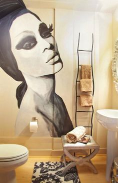 Looking for Eclectic Bathroom ideas? Browse Eclectic Bathroom images for decor, layout, furniture, and storage inspiration from HGTV. Eclectic Bathroom, Bathroom Interior Design, Modern Bathroom, Contemporary Bathrooms, Interior Ideas, Small Bathroom, Interior Decorating, Hanging Ladder, Powder Room Design