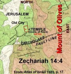 Biblical Prophecy: Earthquake to Split Mount of Olives - There is a fault line running right down the middle of the Mount of Olives; they found this out in our lifetime, but the prophecy is thousands of years old. Israel History, Ancient History, Jewish History, End Times Prophecy, Bible Mapping, Mount Of Olives, Torah, Word Of God, Faith