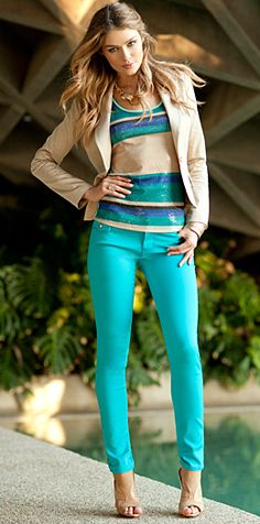 Bold color skinny jeans with a neutral blazer. Summer Turquoise and khaki