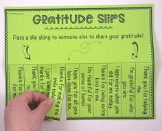 FREE Gratitude Slips to help encourage a positive classroom climate