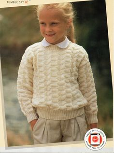 Childrens Sweater Knitting Pattern Round Neck Patterned Sweater DK Sweater Childrens Jumper Pattern 22-30inch Childrens Knitting Pattern PDF by Minihobo on Etsy