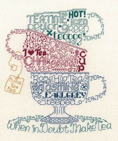 Imaginating Let's Do Tea - Cross Stitch Pattern. Time for tea. When in doubt, make tea. Model stitched on 14 Ct. Natural Aida with DMC floss. Stitch Count: 107x