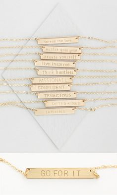 Mini-Mantra Bar Necklace to inscribe with any words, names, dates... Hand-Personalized, handmade and lovely!