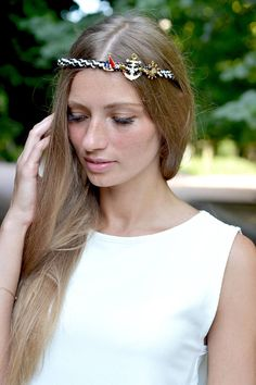 Marine headband Nautical head piece Marine Anchors Tiara Sea Crown Beach headband Adult Marine jewelry hair summer head piece Ready to ship  This is unique accessory for summer marine parties, photo shoots or beach summer wedding   The Tiara is made in the authors technique. All elements are woven into the crown.  Crown is very comfortable and flexible, suitable for any size  Perfect for gift materials:  - Cords of leatherette - metal gold fish - Metallic elements with enamel - metal frame…