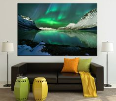 Colorful Northern Lights in Norway Large Photoprint Multi Panel Canvas Print Wild Nature Wall Art Decoration Extra Large Print Ready to Hang by CanvasPrintStudio on Etsy