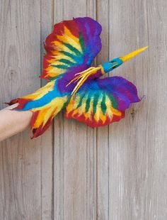This amazing, whimsical Rainbow Bird, hand puppet waits to be adopted by you!!! Its made from natural wool in wet felting process only with using hot water and natural soap. This puppet is an eco-friendly and creative toy which can help your child to develop his or her imagination and keep contact between you and your baby. Its an ideal nursery toy for a baby and a great idea for a unique gift for older children, to create your own, home theater!  This puppet is big and fits perfectly also…