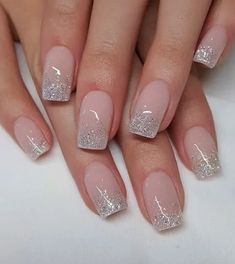 Nude Nails With Glitter, Glitter French Nails, Ombre French Nails, French Nail Art, Black Nails, French Tip With Glitter, Nails French Design, Ombre Nail Art, Acrylic Nails Glitter