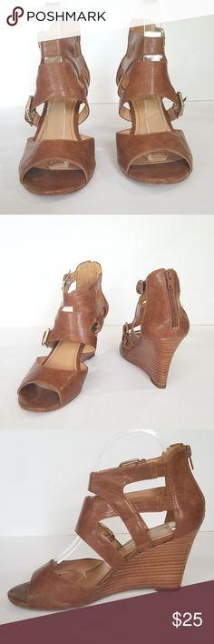 2a06f2201 Nine West Cognac Wedge Sandals sz 8 Nine West Fortunate Cognac Wedge Sandals  size 8 Back