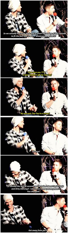 [gifset] Jensen and Jared #VegasCon15 Yet, Jensen is the one who listens to Taylor Swift in his trailer.