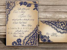 Printable Lace Elegant WEDDING INVITATIONS Bellevue by ABandIG, $25.00