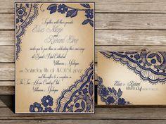 Printable Lace Elegant WEDDING INVITATIONS Bellevue by ABandIG, $25.00