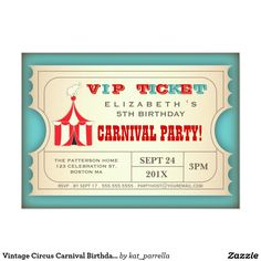 "Vintage Circus Carnival Birthday Party Ticket 5"" X 7"" Invitation Card"