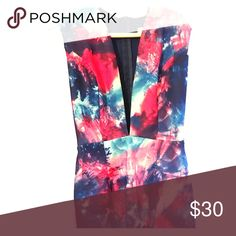 ASOS tie-dye dress/ low cut Got this dress on ASOS. It is French One brand. Dresses Mini
