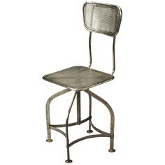 Butler Specialty Pershing Industrial Chic Swivel Chair Gray By (365 CAD) ❤ liked on Polyvore featuring home, furniture, chairs, kitchen & dining room chairs, gray furniture, grey chair, iron furniture, iron chair and adjustable chair