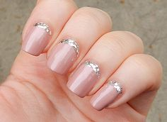 Reverse French Manicure with Glitter.