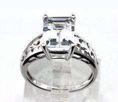 14k WG 2.50TCW Aquamarine Cocktail Ring sz 7.25 3.8g B26 #unbranded #cocktail