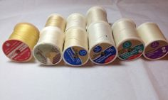 Nine Large Spools of White Beige and Yellow Thread, 6 Spools of All Purpose Thread, 1  Spool of Machine Quilting Thread, & 1 Spool Uphostery by Oldtonewjewels on Etsy