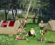 """Jo Héliotrope artiste peintre français huile sur toile 2009 """"Petits campeurs"""""""