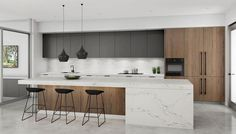 Modern contemporary kitchen, what is that? At this time, contemporary kitchen is one of the most popular options when it Home Decor Kitchen, Rustic Kitchen, Interior Design Kitchen, Modern Interior Design, Home Design, New Kitchen, Home Kitchens, Modern Kitchens, Kitchen Modern
