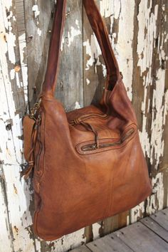 Huge Soft Cognac Vintage Inspired Hobo Bag