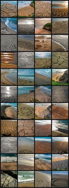 ^Amazing ~ sand artist ~ Andres Amador ~ He uses a rake to make his beautiful artwork mostly on San Francisco beaches, so truly talented