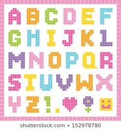 Pixel Art Alphabet, Cross Stitch Alphabet, Perler Bead Art, Hama Beads, Alfabeto Animal, Disney Letters, Cute Fonts, School Projects, Cross Stitching