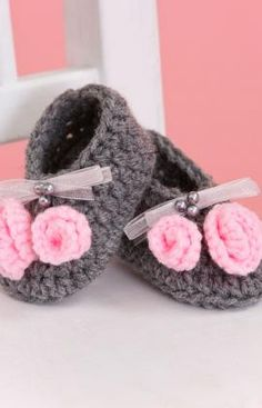 Little Miss Booties Free Crochet Pattern from Red Heart Yarns