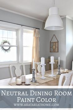Farmhouse neutral paint color for a dining room. Neutral Dining Room Paint, Neutral Paint, Dining Room Curtains, Farmhouse Curtains, Diy Home Decor Projects, Decor Ideas, Room Ideas, Elegant Dining Room, Beautiful