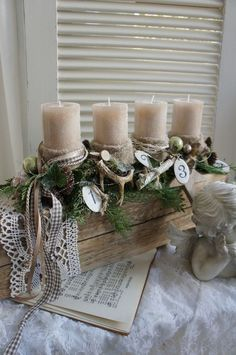 a freshly scented Christmas wreath, the fresh green of the conifers, the splendor of the light …. An Advent wreath with the charm of a winter landscape, from the … Source by JKMOL Christmas Advent Wreath, Christmas Candles, Christmas Centerpieces, Rustic Christmas, Winter Christmas, Christmas Themes, Handmade Christmas, Vintage Christmas, Christmas Crafts